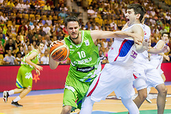 Bostjan Nachbar of Slovenia vs Dorde Gagic of Serbia during friendly match between National teams of Slovenia and Serbia for Eurobasket 2013 on August 3, 2013 in Arena Zlatorog, Celje, Slovenia. (Photo by Vid Ponikvar / Sportida.com)