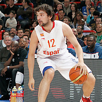 15 July 2012: Sergio Llull of Team Spain dribbles during a pre-Olympic exhibition game won 75-70 by Spain over France, at the Palais Omnisports de Paris Bercy, in Paris, France.