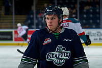 KELOWNA, BC - JANUARY 30: Keltie Jeri-Leon #11 of the Seattle Thunderbirds warms up against the Kelowna Rockets at Prospera Place on January 30, 2019 in Kelowna, Canada. (Photo by Marissa Baecker/Getty Images)