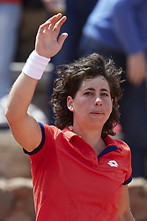 April 21, 2018 - La Manga, Murcia, Spain - during day one of the Fedcup World Group II Play-offs match between Spain and Paraguay at Centro de Tenis La Manga Club on April 21, 2018 in La Manga, Spain  (Credit Image: © David Aliaga/NurPhoto via ZUMA Press)