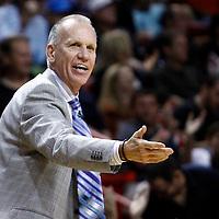 21 January 2012: Philadelphia Sixers head coach Doug Collins protests during the Miami Heat 113-92 victory over the Philadelphia Sixers at the AmericanAirlines Arena, Miami, Florida, USA.