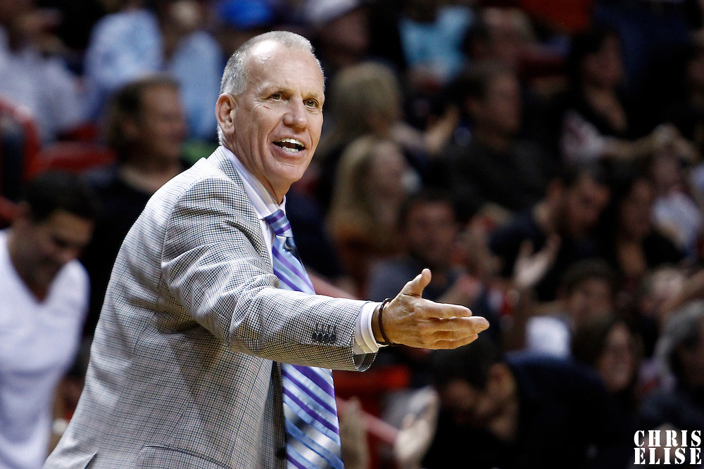 21 January 2012: Philadelphia Sixers head coach Doug Collins protests during the Miami Heat 113-92 victory over the Philadelphia Sixers at the AmericanAirlines Arena, Miami, Florida, USA.
