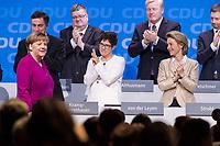 26 FEB 2018, BERLIN/GERMANY:<br /> David McAllister, CDU, MdEP, Annegret Kramp-Karrenbauer, CDU, desig. Generalsekraetrin, und Ursula von der Leyen, CDU, Bundesverteidigungsministerin,(1. Reihe, v.L.n.R.), applaudieren Angela Merkel, CDU, Bundeskanzlerin, nach ihrer Rede, CDU Bundesparteitag, Station Berlin<br /> IMAGE: 20180226-01-080<br /> KEYWORDS: Party Congress, Parteitag, klatschen, Applaus