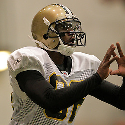 10 August 2009: New Orleans Saints wide receiver Paris Warren (82) looks for the ball during New Orleans Saints training camp at the team's indoor practice facility in Metairie, Louisiana.