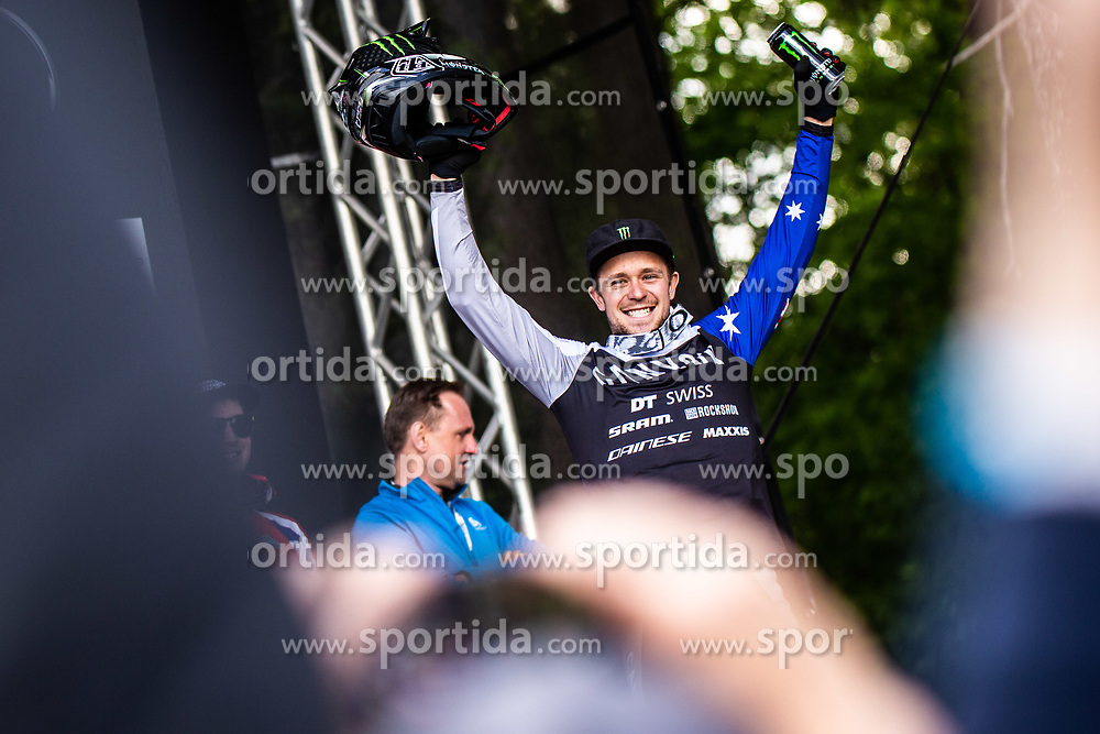 Troy Brosnan of Australia during trophy ceremony Mercedes-Benz UCI Mountain Bike World Cup competition final day in Bike Park Pohorje, Maribor on 28th of April, 2019, Slovenia.  . Photo by Grega Valancic / Sportida