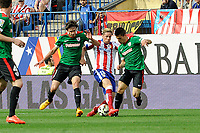 Atletico de Madrid´s Fernando Torres and Athletic Club´s Ander Iturraspe and Unai Bustinza during 2014-15 La Liga match between Atletico de Madrid and Athletic Club at Vicente Calderon stadium in Madrid, Spain. May 02, 2015. (ALTERPHOTOS/Luis Fernandez)
