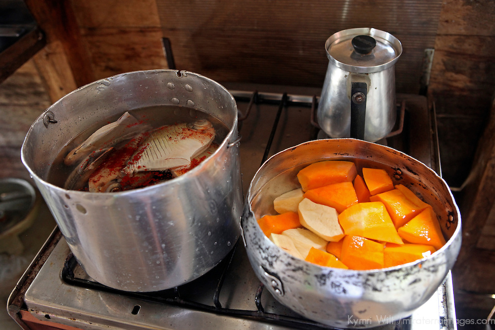 South America, Brazil, Amazonas. Lunch ready to cook in a home on the Amazon River.