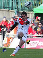 Jean-Marc Doussain of Stade Toulousain takes a penalty kick during the European Rugby Champions Cup match at Thomond Park, Limerick<br /> Picture by Yannis Halas/Focus Images Ltd +353 8725 82019<br /> 01/04/2017