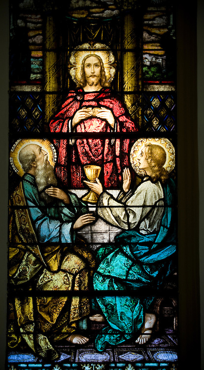 Stained glass image depicting Jesus and his apostles at the Last Supper, inside Sacred Heart Church, Sherwood, Wis. (Sam Lucero photo)