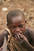 Africa, Tanzania, Lake Eyasi, young male Hadza child a small tribe of hunter gatherers AKA Hadzabe Tribe