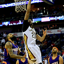 Nov 4, 2016; New Orleans, LA, USA; New Orleans Pelicans forward Anthony Davis (23) shoots over Phoenix Suns center Tyson Chandler (4) during the first quarter of a game at the Smoothie King Center. Mandatory Credit: Derick E. Hingle-USA TODAY Sports