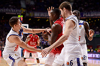 Real Madrid's Andres Nocioni, Jaycee Carroll and Othello Hunter and EA7 Emporio Armani Milan's Rakim Sanders during Turkish Airlines Euroleage match between Real Madrid and EA7 Emporio Armani Milan at Wizink Center in Madrid, Spain. January 27, 2017. (ALTERPHOTOS/BorjaB.Hojas)