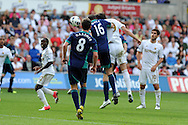 Swansea city's Michu (9) scores his sides 2nd goal from a header.  Barclays Premier league, Swansea city v Sunderland at the Liberty Stadium in Swansea, South Wales on Saturday 1st Sept 2012. pic by Andrew Orchard, Andrew Orchard sports photography,