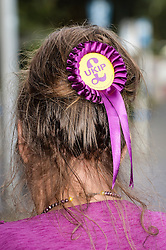 A woman wears a rosette in her hair at the Ukip annual conference in Bournemouth.