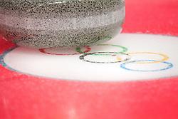 February 9, 2018 - Pyeongchang, SOUTH KOREA - 180209 A rock on top of Olympic Rings on curling ice during the 2018 Winter Olympics on February 9, 2018 in Pyeongchang..Photo: Joel Marklund / BILDBYRN / kod JM / 87609 (Credit Image: © Joel Marklund/Bildbyran via ZUMA Press)