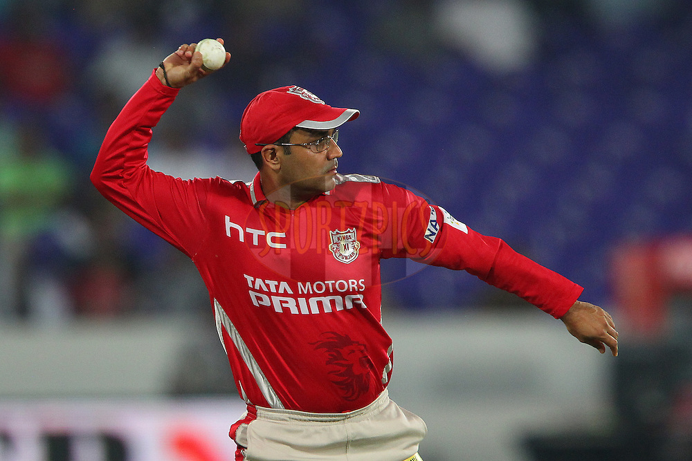 Virender SEHWAG of the Kings XI Punjab  during the second semi final match of the Oppo Champions League Twenty20 between the Kings XI Punjab and the Chennai Superkings held at the Rajiv Gandhi Cricket Stadium, Hyderabad, India on the 2nd October 2014<br /> <br /> Photo by:  Ron Gaunt / Sportzpics/ CLT20<br /> <br /> <br /> Image use is subject to the terms and conditions as laid out by the BCCI/ CLT20.  The terms and conditions can be downloaded here:<br /> <br /> http://sportzpics.photoshelter.com/gallery/CLT20-Image-Terms-and-Conditions-2014/G0000IfNJn535VPU/C0000QhhKadWcjYs