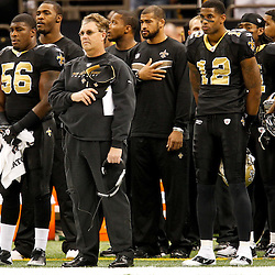 December 4, 2011; New Orleans, LA, USA; New Orleans Saints defensive coordinator Gregg Williams stands during the national anthem prior to a game against the Detroit Lions at the Mercedes-Benz Superdome. The Saints defeated the Lions 31-17. Mandatory Credit: Derick E. Hingle-US PRESSWIRE