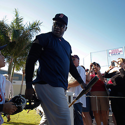 February 19, 2011; Fort Myers, FL, USA; Boston Red Sox first baseman David Ortiz and son D'Angelo Ortiz walk onto the field for practice during spring training at the Player Development Complex.  Mandatory Credit: Derick E. Hingle