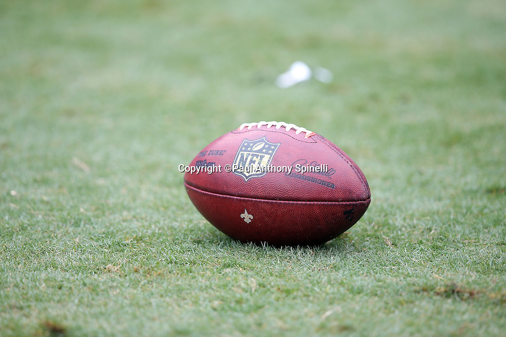 An NFL football lies on the grass during the Carolina Panthers 2015 NFL week 3 regular season football game against the New Orleans Saints on Sunday, Sept. 27, 2015 in Charlotte, N.C. The Panthers won the game 27-22. (©Paul Anthony Spinelli)