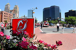May 19, 2012; Newark, NJ, USA; Atmosphere outside the Prudential Center before game three of the 2012 Eastern Conference Finals between the New Jersey Devils and the New York Rangers.