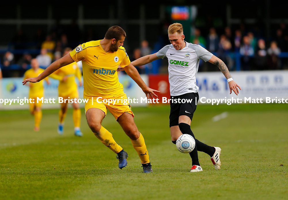 SEPTEMBER 1y6:  Dover Athletic against Chester FC in Conference Premier at Crabble Stadium in Dover, England. Doveer ran out emphatic winners 4 goal to nothing. Dover's forward Mitchell Pinnock wrong foots Chester's Ryan Astles. (Photo by Matt Bristow/mattbristow.net)