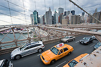 taxi on brooklyn bridge in New York City October 2008