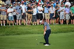 August 9, 2018 - Town And Country, Missouri, U.S - The crowd watches as SCOTT PIERCY from Las Vegas Nevada, USA  chips form the 14th fairway during round one of the 100th PGA Championship on Thursday, August 8, 2018, held at Bellerive Country Club in Town and Country, MO (Photo credit Richard Ulreich / ZUMA Press) (Credit Image: © Richard Ulreich via ZUMA Wire)