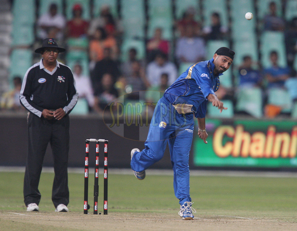 Harbhajan Singh during the match 7 of the Airtel CLT20 between The Mumbai Indians and The South Australian Redbacks held at Kingsmead Stadium in Durban on the 14 September 2010..Photo by: Steve Haag/SPORTZPICS/CLT20.