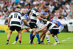 Samoa Flanker Jack Lam in action at a lineout - Mandatory byline: Rogan Thomson/JMP - 07966 386802 - 29/08/2015 - RUGBY UNION - The Stadium at Queen Elizabeth Olympic Park - London, England - Barbarians v Samoa - International Friendly.