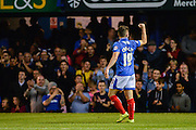 Conor Chaplin celebrates his goal for Portsmouth during the Capital One Cup match between Portsmouth and Reading at Fratton Park, Portsmouth, England on 25 August 2015. Photo by Adam Rivers.