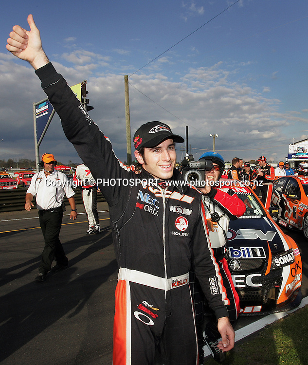 Toll HSV Dealer Team's Rick Kelly celebrates winning the third race and the overall series win after Race 3 at the Placemaker V8 Supercars in Pukekohe, New Zealand, on Sunday 22 April 2007. Toll HSV Dealer Team's Rick Kelly won race 3 and the series. Photo: Michael Bradley/PHOTOSPORT
