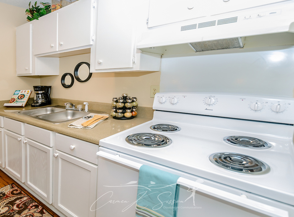 A kitchen is pictured at Robinwood Apartments, June 11, 2015, in Mobile, Alabama. The one-bedroom apartments, located on Old Shell Road, are managed by Sealy Realty. (Photo by Carmen K. Sisson/Cloudybright)