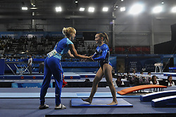 October 9, 2018 - Buenos Aires, Buenos Aires, Argentina - ADA HAUTALA of Finland reacts to her coach during the Women's Vault Qualification on Day 2 of the Buenos Aires 2018 Youth Olympic Games at the Olympic Park. (Credit Image: © Patricio Murphy/ZUMA Wire)