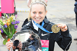 March 10, 2019 - London, United Kingdom - Charlotte Purdue, seen posing with a medal after running The Vitality Big Half, which has returned for a festival of running and culture to the heart of London in a celebration of the rich and wonderful diversity of the capital city and Finishing it at Cutty Sark. (Credit Image: © Terry Scott/SOPA Images via ZUMA Wire)