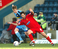 Photo: Leigh Quinnell.<br /> Wycombe Wanderers v Shrewsbury Town. Coca Cola League 2. 11/03/2006. Shrewsburys Neil Shorvel battles with Wycombes Dean Bowditch.