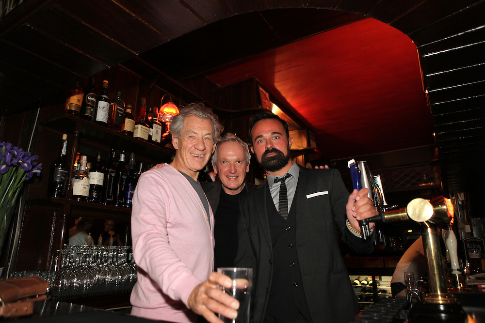 Sir Ian McKellen,Sean Mathias and Evgeny Lebedev, at The Grapes, the pub they bought together in Narrow Street, Limehouse, London