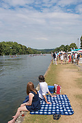 """Henley on Thames, United Kingdom, 4th July 2018, Wednesday, View, on the side of the Thames, Picnic,  first day of the annual,  """"Henley Royal Regatta"""", Henley Reach, River Thames, Thames Valley, England, © Peter SPURRIER,"""