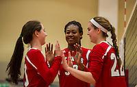 St Paul's School Volleyball with Nobles.<br />  ©2015 Karen Bobotas Photographer