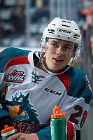KELOWNA, CANADA - DECEMBER 27: Leif Mattson #28 of the Kelowna Rockets stands at the bench during warm up against the Kamloops Blazers on December 27, 2017 at Prospera Place in Kelowna, British Columbia, Canada.  (Photo by Marissa Baecker/Shoot the Breeze)  *** Local Caption ***
