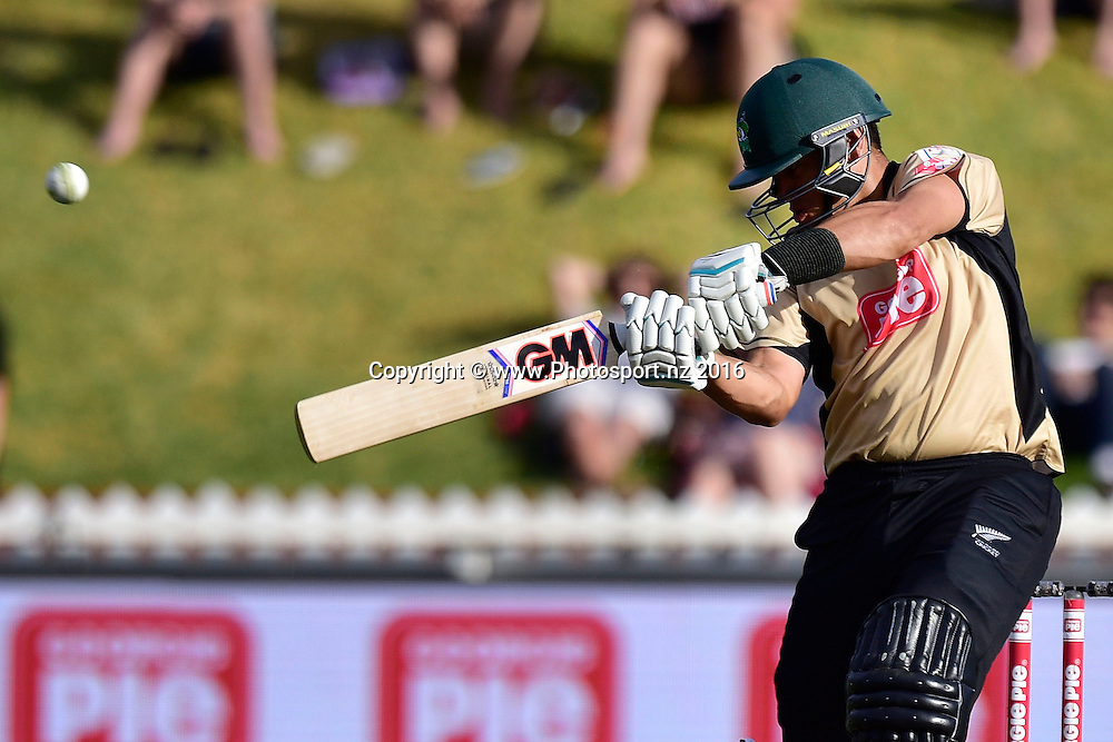 Ross Taylor of the North plays a shot during the North Island vs South Island cricket match at the Basin Reserve in Wellington on Sunday the 28th of February 2016. Copyright Photo by Marty Melville / www.Photosport.nz