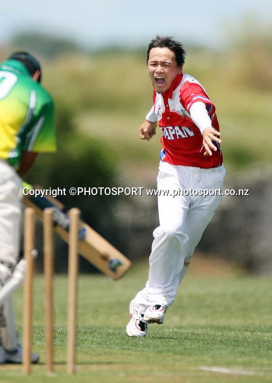 Takuro Hagihara celebrates a Cook Island wicket.<br />ICC East Asia Pacific Trophy.<br />Japan versus Cook Islands<br />Waikaraka Park, Auckland.<br />Saturday 8 December 2007. <br />Photo: Andrew Cornaga/PHOTOSPORT