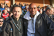 Dennis Wise & Trevor Sinclair join Jeff Stelling on his Men United March rounding off a 250-mile tour of 31 football clubs by walking from the Cherry Red Records Stadium on 30 March and he will stop off at Brentford, Fulham, Chelsea and QPR, before finishing off at Wembley Stadium on 30 March 2016. Photo by Stuart Butcher.