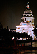 The Texas Capitol on a rainy night in Austin, Texas, August 18, 2012.