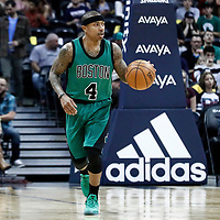 10 March 2017: Boston Celtics guard Isaiah Thomas (4) brings the ball up court during the Denver Nuggets 119-99 victory over the Boston Celtics, at the Pepsi Center, Denver, Colorado, USA.