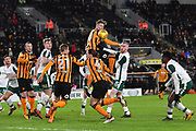 Hull City defender Angus Macdonald (50) heads ball during the EFL Sky Bet Championship match between Hull City and Barnsley at the KCOM Stadium, Kingston upon Hull, England on 27 February 2018. Picture by Ian Lyall.