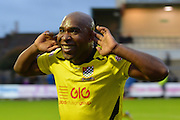 Chesham United striker Barry Hayles celebrates during the The FA Cup match between Bristol Rovers and Chesham FC at the Memorial Stadium, Bristol, England on 8 November 2015. Photo by Alan Franklin.