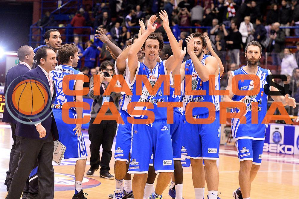DESCRIZIONE : Milano Coppa Italia Final Eight 2014 Quarti di Finale EA7 Emporio Armani Milano Banco di Sardegna Sassari<br /> GIOCATORE : Team<br /> CATEGORIA : Esultanza<br /> SQUADRA : Banco di Sardegna Sassari<br /> EVENTO : Beko Coppa Italia Final Eight 2014<br /> GARA : EA7 Emporio Armani Milano Banco di Sardegna Sassari<br /> DATA : 07/02/2014<br /> SPORT : Pallacanestro<br /> AUTORE : Agenzia Ciamillo-Castoria/R.Morgano<br /> Galleria : Lega Basket Final Eight Coppa Italia 2014<br /> Fotonotizia : Milano Coppa Italia Final Eight 2014 Quarti di Finale EA7 Emporio Armani Milano Banco di Sardegna Sassari<br /> Predefinita :