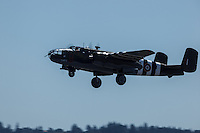"""North American B-25 Mitchell, """"Grumpy"""" taking off at Warbirds Over the West."""
