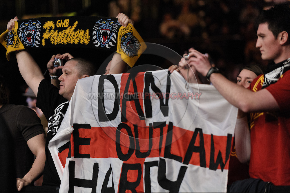"LONDON, ENGLAND, FEBRUARY 21, 2009: Fans of Dan Hardy show their support for him during ""UFC 95: Sanchez vs. Stevenson"" inside the O2 Arena in Greenwich, London."