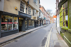© Licensed to London News Pictures. 19/03/2020. York UK. Streets in York are eerily quiet this morning after the Government urged people to work from home & avoid pubs & restaurants due to the Covid19 virus. Photo credit: Andrew McCaren/LNP